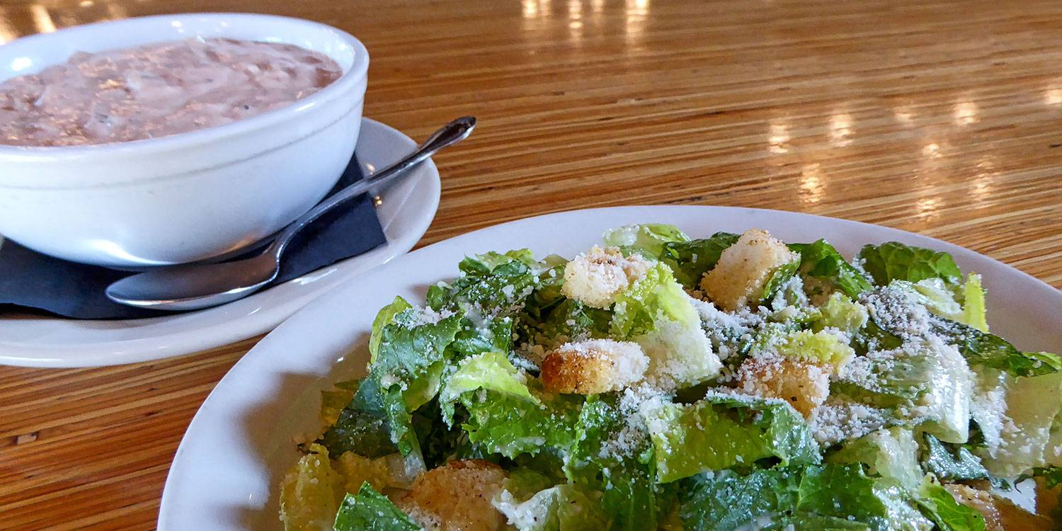 Salmon Chowder and Caesar Salad